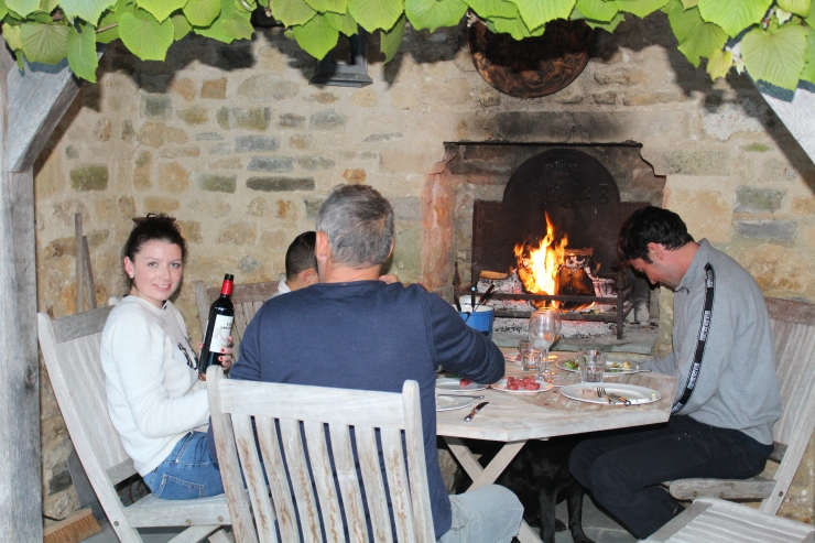 Log fire supper in loggia